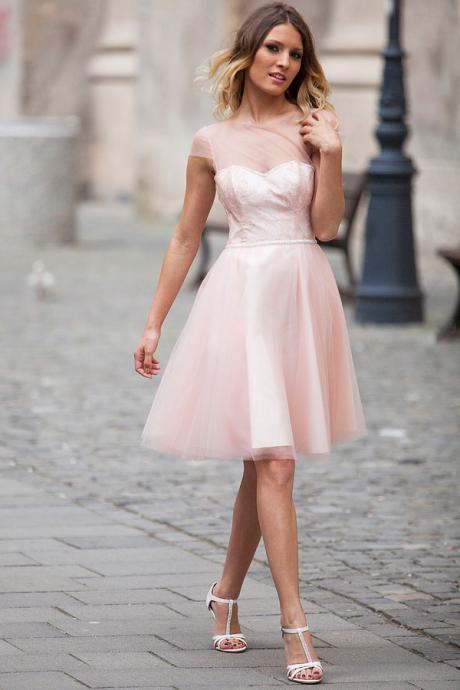Ulass 2015 Fantasy pink cap sleeve collar short Tulle evening dress