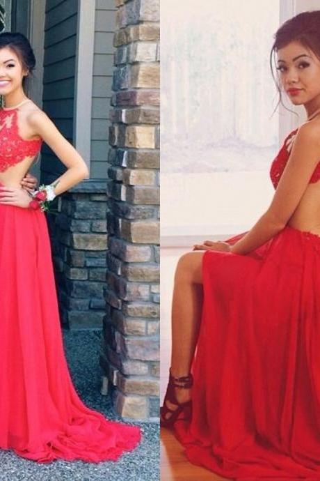 Ulass Halter Prom Dresses Backless Spaghettis Red Lace Applique Beading Chiffon Sexy Evening Gowns