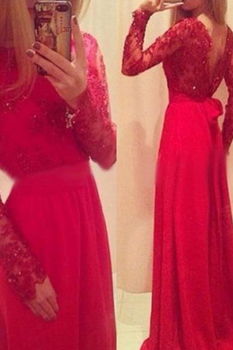 Ulass 2016 Red Long Prom Dresses Lace Beaded Long Sleeves with Bow Formal A-line Evening Gowns