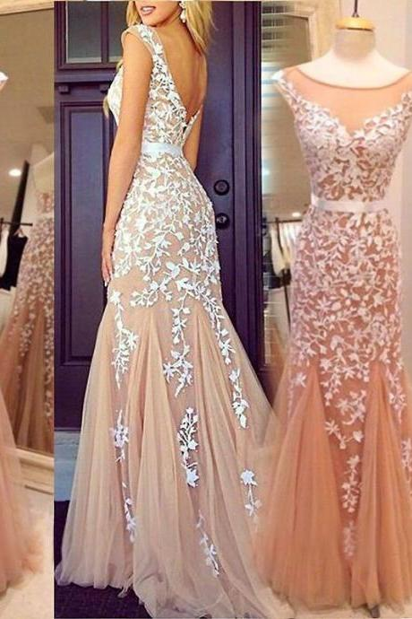 Ulass Glamorous Mermaid Bateau Tulle Floor Length Champagne Cocktail/Prom Dress With Appliques 2016
