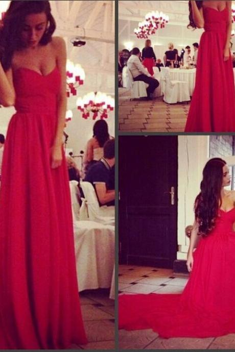 Ulass Elegant A-line Sweetheart Court Train Chiffon Sleeveless Red/Evening/Prom Dress 2016