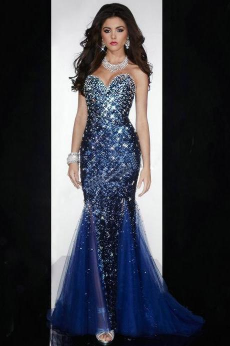 Ulass Dazzling Sweetheart Neckline Sleeveless Beaded Fully Sequined Pageant Gowns Floor Length Royal Blue Mermaid Prom Dresses 2016
