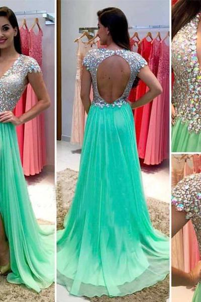 Ulass Green prom dresses, Open back prom dresses, Sexy prom dresses, prom dress online
