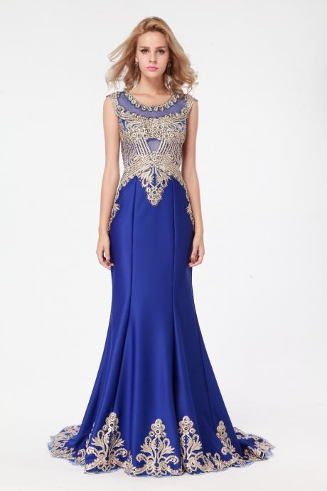 Ulass 2016-100%-Real-Images-Elegant-Mermaid-Royal-Blue-Satin- Embroidery-Long-Evening-Dress-New-Arrival-Formal Dresses