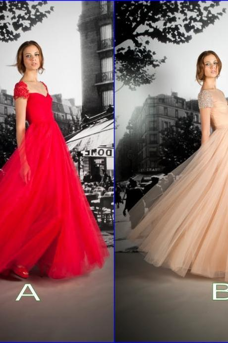 Ulass Queen Anne Neck Cap Sleeve Orange / Red Long Prom Dresses 2016 Soft Tulle Skirt Formal Party Dresses Vestidos