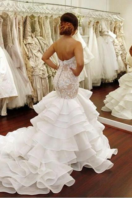 Ulass 2016 Cheap Plus Size Mermaid Wedding Dresses Sweetheart Lace Appliques Dropped Waist Covered Buttons Back Organza Court Train