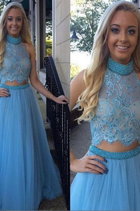 Ulass 2016 Sexy Prom Dresses High Neck Sleeveless Beads Tow Pieces A Line Tulle Floor-Length Formal Dress 2016