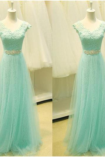 Ulass Real Sample V-Neck Cap Sleeve Lace Tull Long Prom Dresses 2016 Formal Party Gowns