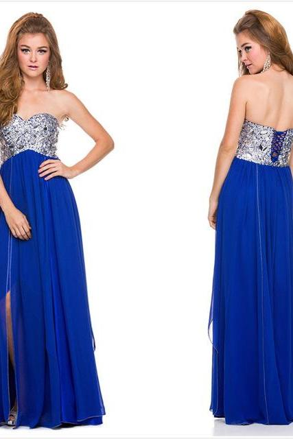 Ulass 2016 Most Popular Long Prom Dresses Beading Floor Length Royal Blue Prom Dresses vestido de festa longo Cheap Free Shipping