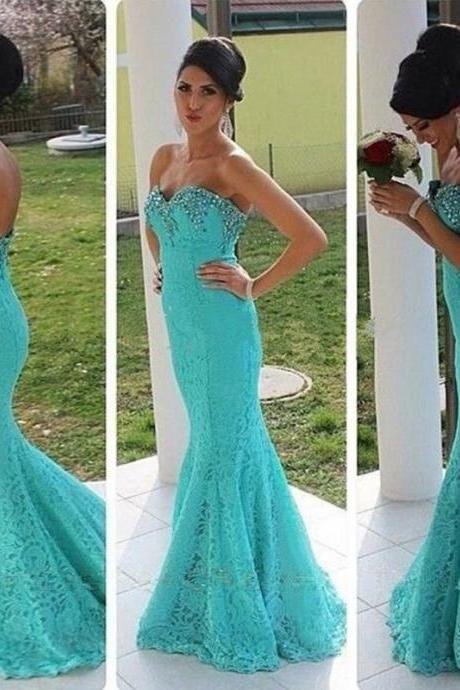 Ulass 2016 Lace Evening Dresses Elegant Sweetheart Sleeveless With Zip Back Beads Lace Mermaid Sweep Train Bridal Gown
