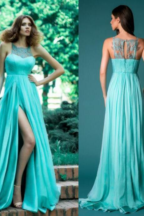 Ulass Long Chiffon Evening Gown O Neck Off the Shoulder Sleeveless Lace Beads Pleat Elegant Sweep Train Custom Made Formal Prom Dress