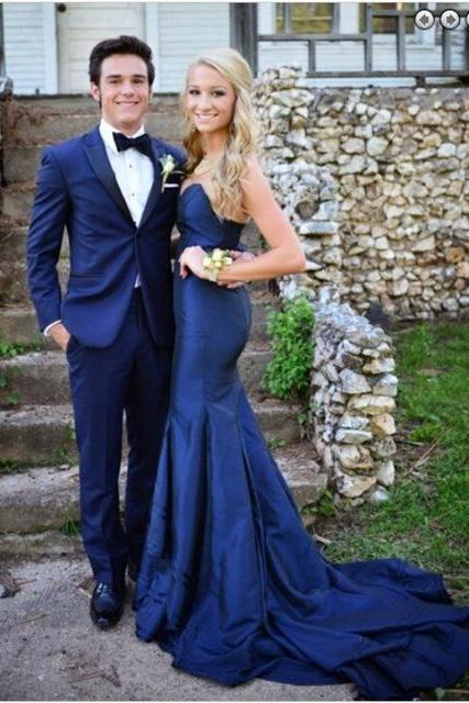 Ulass Gorgeous Sweetheart Navy Blue 2016 Evening Dresses Mermaid Sweep Train Prom Gown