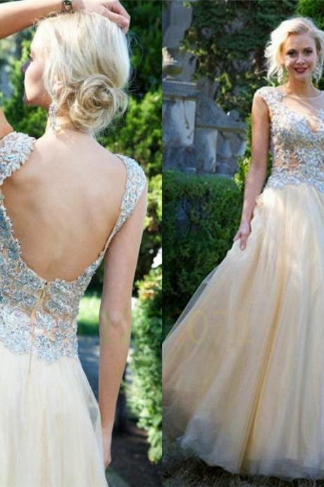 Ulass Beaded A Line Backless Tulle Puffy Long Prom Dress 2016 with Crystal Prom Dresses
