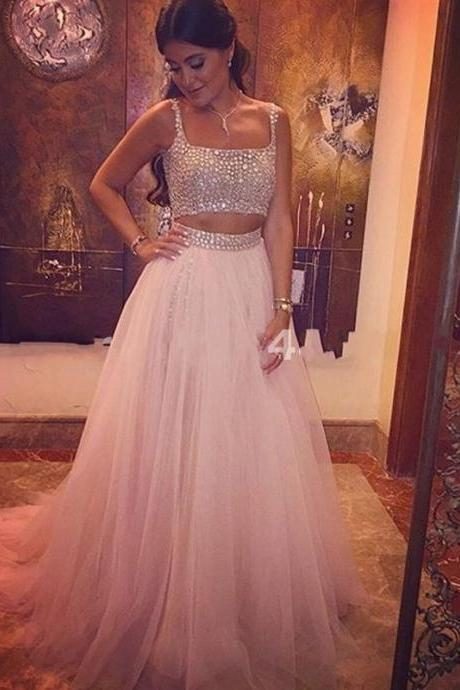 Ulass Long Light Pink Prom Dress Womens Crystal Tulle 2 Two Pieces Prom Dresses 2016