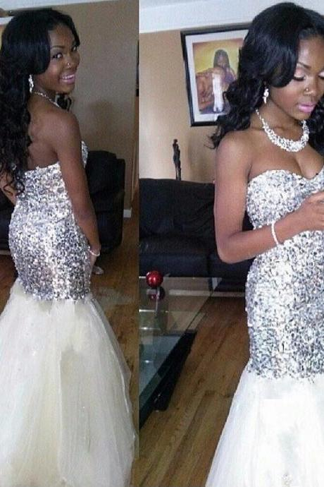 Ulass African-Long-Mermaid-Prom-Dresses- 2016-Silver-Sequine-White-Tulle-Prom-Gowns-