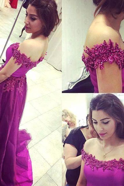 Ulass New Elegant Purple Prom Dresses Long Off Shoulder With Lace Appliques Plus Size vestido de debutante