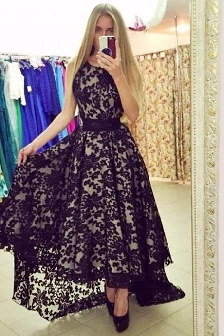 Ulass 2016 New Style Black Nude Lace Prom Dresses Short Front Long Back Women Elegant Formal Party Gowns