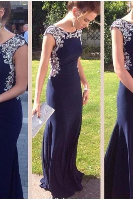 Ulass 2016 Stunning Navy Blue Prom Dresses Long Mermaid Beaded Bodice Elegant Women Formal Party Gowns