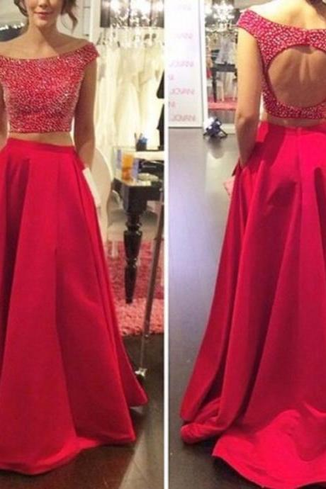 Ulass 2016 Long Elegant 2 Piece Prom Dresses Sexy Open back Full Beaded Bodice Off Shoulder Red Women Party Gown