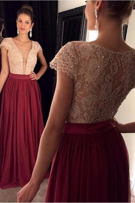 Ulass 2016 Wine Red Prom Dress Chiffon Long Lace Bodice Sexy Deep V Neck Short Sleeve Cheap Prom Gown