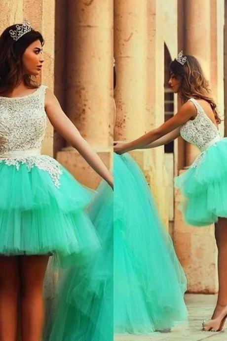 Ulass 2016 Cute Short Puffy Prom Dresses Tulle Tiered Prom Party Gown Lace Bodice Backless Homecoming Dress Light Green
