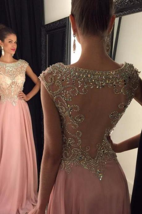 Ulass 2016 Blush Pink Prom Dress Long Sheer Back With Beads Illusion Neck Cheap Prom Gown A-line
