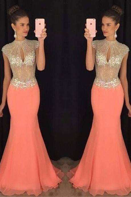 Ulass Stunning High-Neck Prom Dresses 2016 Mermaid Long Chiffon Coral Prom Gowns Crystal Beaded Sheer Bodice