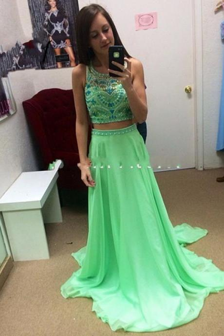 Ulass Fashionable 2 Pieces Prom Dresses Full Beaded Bodice Sexy Backless Long Chiffon Formal Gowns
