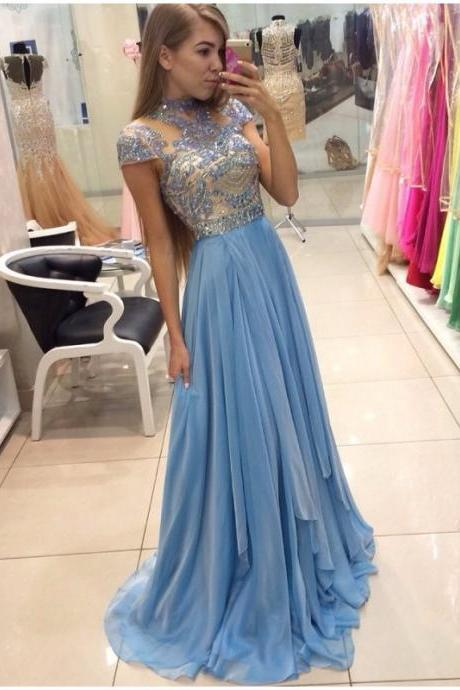 Ulass Simple Elegant Long Prom Dress Short Sleeve Lace Beaded Bodice 2016 Hot Sale Cheap Graduated Party Gown