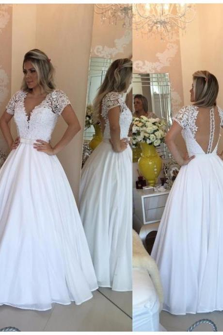 Ulass 2016 White Prom Dress Long Chiffon Homecoming Dresses Short Sleeve Lace Bodice Cheap Party Gown