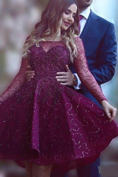 Ulass Charming Puffy A-Line Dark Purple Prom Dresses 2016 Sheer Long Sleeves Scalloped Sequin Short Party Dress Evening Gown Elegant