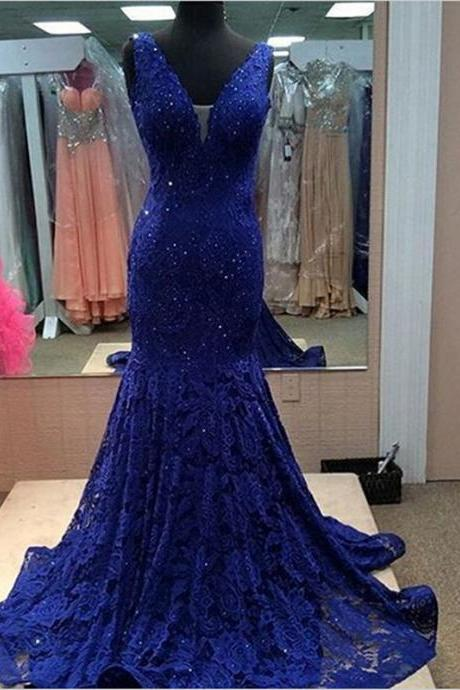 Ulass 2016 Luxury Lace Prom Dresses Navy Blue V-neck Beads Lace Long Formal Evening Dress Cap Sleeves Mermaid Party Gown Custom Made