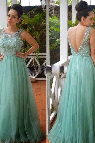 Ulass 2016 New Arrive O Neckline A Line Turquoise Tulle Prom Dresses With Crystal Rhinestone Backless Long Party Dress