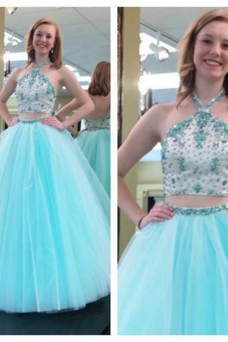Ulass Light Sky Blue Halter Two Piece Ball Gown Tulle Evening Dress Pretty Sexy Shinny Crystal Backless Girl Prom Dress Vestido Longo