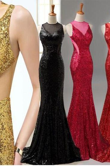 Ulass Sexy Mermaid Evening Dresses O-Neck Backless Sequined Party Dresses,Red Golden Black Long Formal evening Gowns