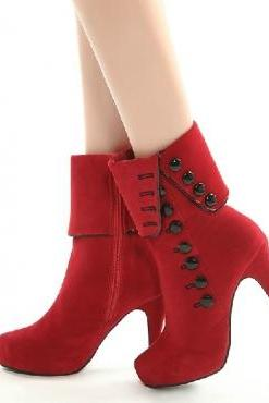 Ulass Sexy Red Rivets High Heel Platform Boots