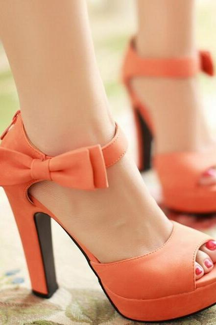 UlassBowknot fish head Roman High heel sandals