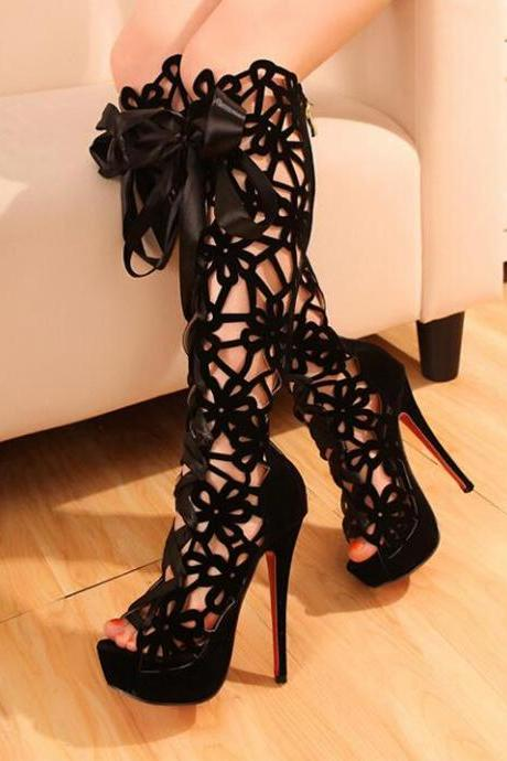 Ulass Spring and summer high-heeled boots, lace boots