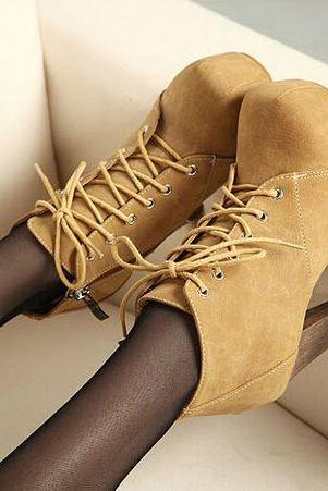 Ulass Chic Suede Lace Up High Heel Boots