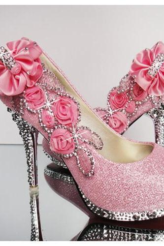 Ulass Pink Floral And Bling Design High Heels Fashion Shoes
