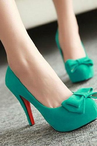 Ulass Sweet Bowknot High Stiletto Heel Platform Shoes Pump