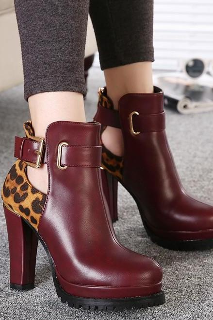 Burgundy Chunky Heel Ankle Boots with Leopard Print and Cutout Detailing