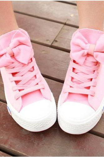 Ulass Pink,Dark Blue,Gray Colors Bowknot Canvas Shoes