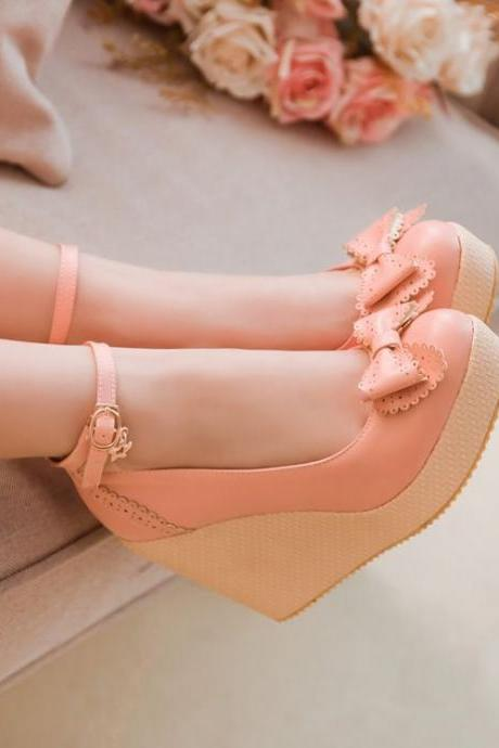 Ulass Hot Sale 2016 SUMMER FASHION Simply Gorgeous Bow Embellished Pink Wedge sandal Shoes