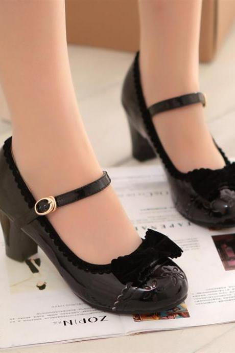 Ulass New Style Spring fall 2016 Retro Black Cute Bow Shoes