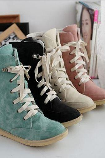 Ulass Sexy Fashion Leather Snow Boots for Women Four Colors