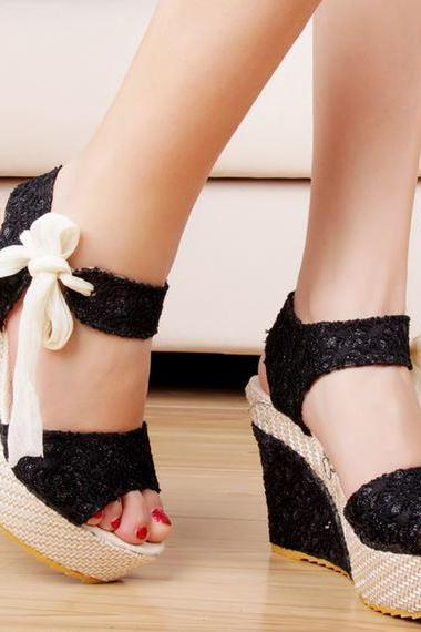 Ulass Black Beige and Silver Ankle Strap lace ribbon Platform Wedges Sandals