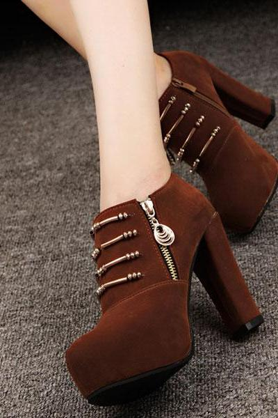 Ulass Black Brown Cool Black Zipper High Heel Shoes