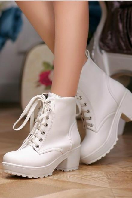 Ulass Black White Apricot Chunky Heel Lace Up Boots
