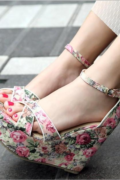 Ulass Pink Blue Floral cloth bag with simple cross- heel wedge sandals with high heels shoes